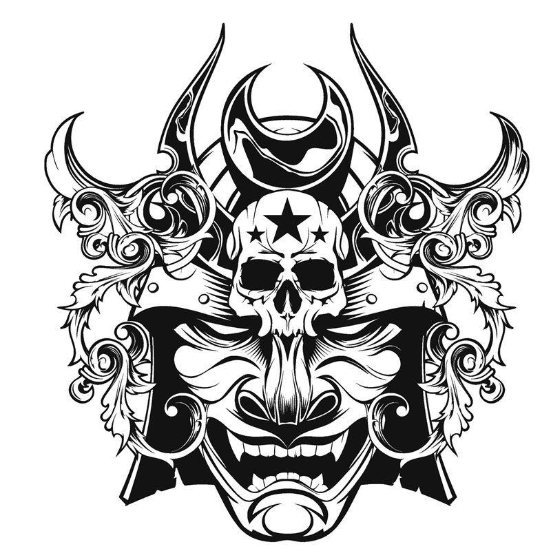 Drawn samurai japanese ninja Decor Wall Ninja Decal Sticker