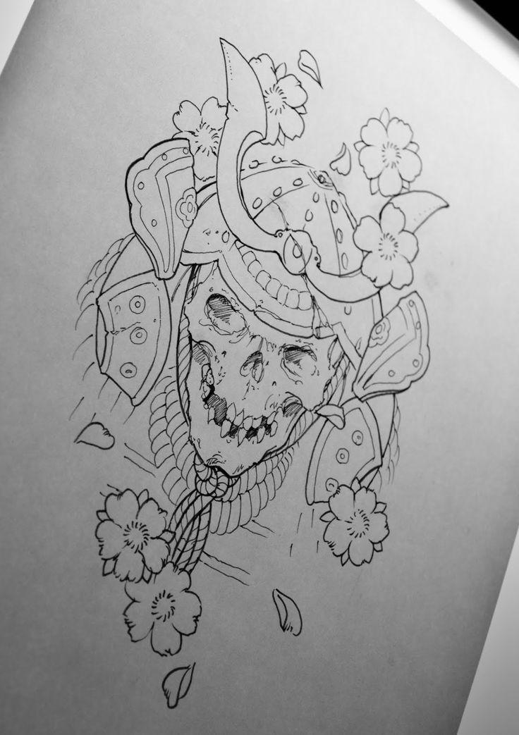 Drawn samurai japanese symbol 88 on best tattoo skull