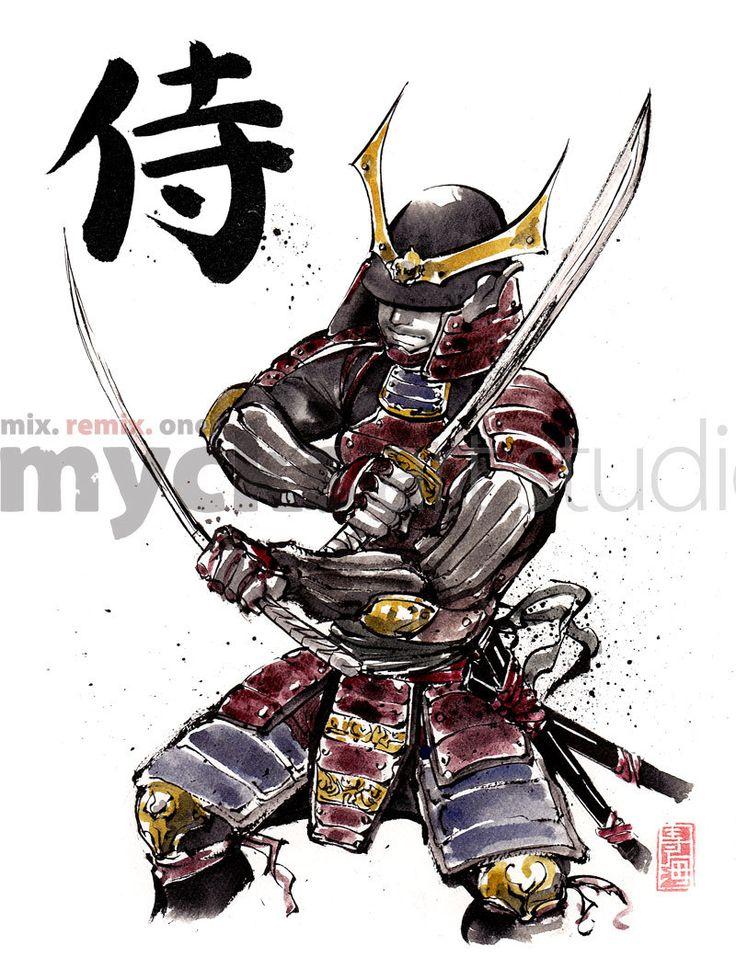 Drawn samurai japanese symbol Armor best Calligraphy images Dual