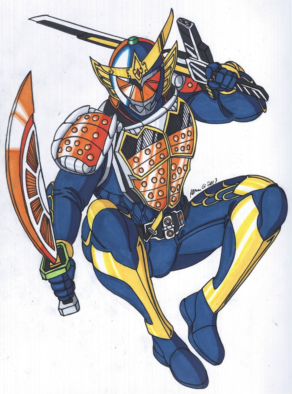 Drawn samurai kamen rider Gaim Kamen on RobertMacQuarrie1 Kamen