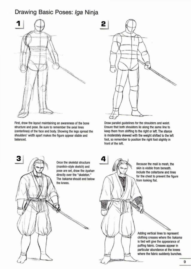 Drawn samurai knee Ninja draw 38 How to