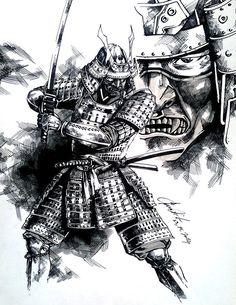 Drawn samurai knight Muchas I serpiente piece from