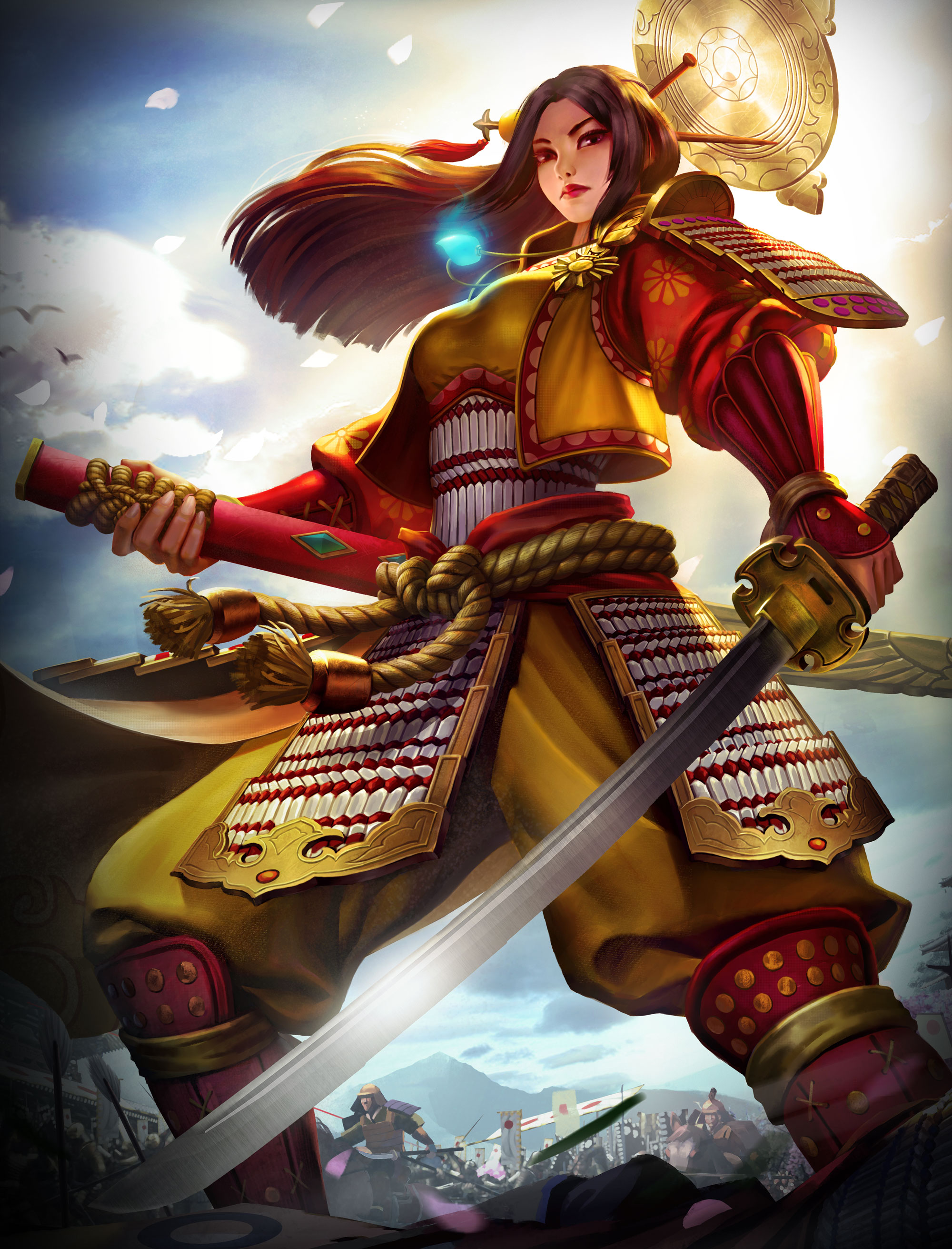 Drawn samurai mayan woman SMITE Amaterasu An Pantheon Adds
