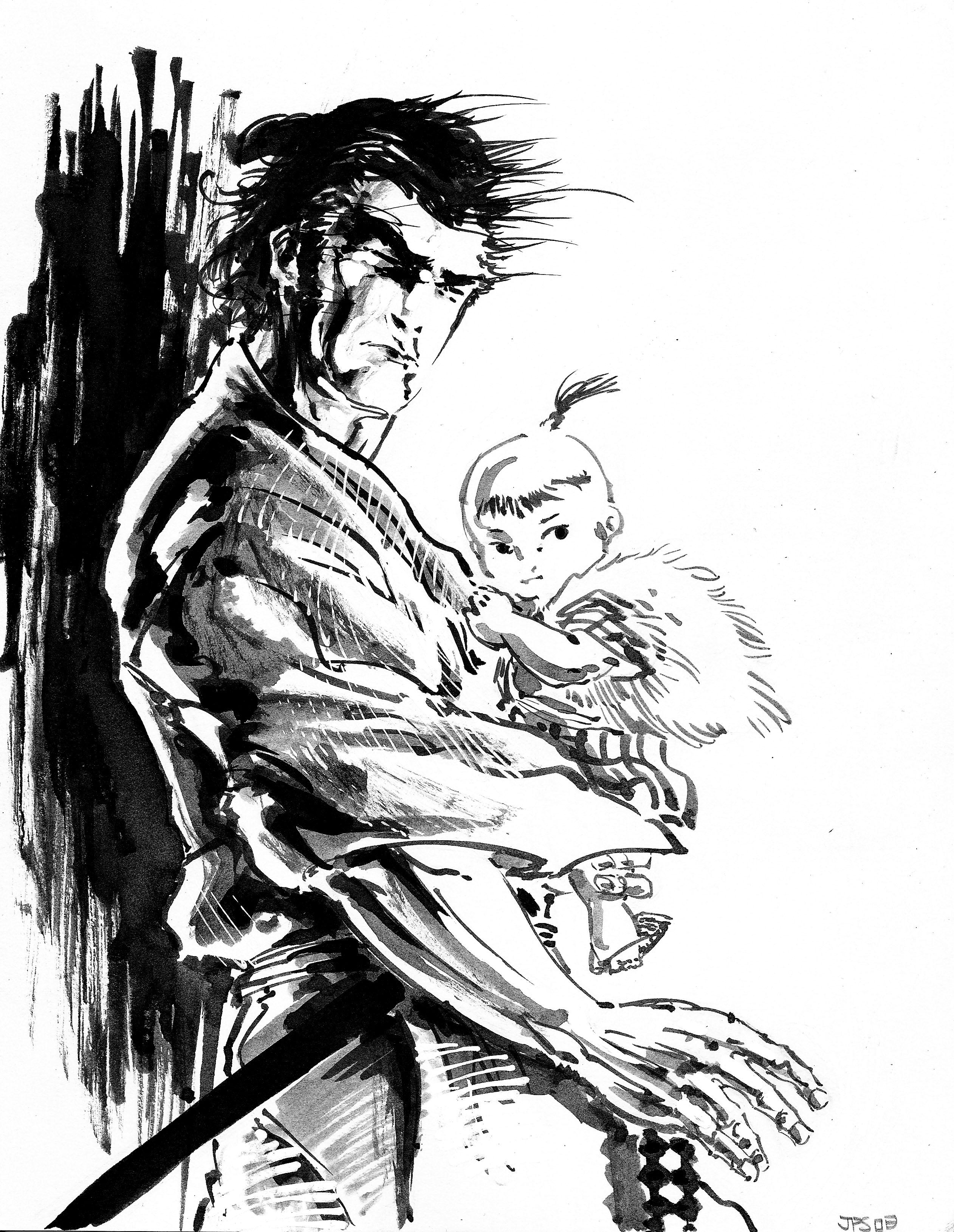 Drawn samurai old Son year the Ogami Wolf