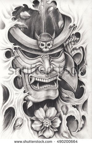 Drawn samurai pencil Pencil design Hand warrior drawing