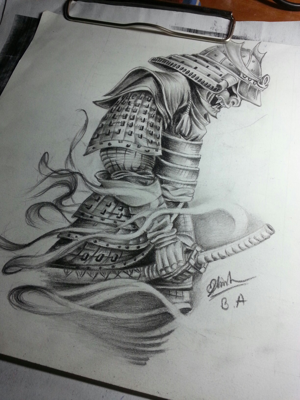 Drawn samurai pencil #by # for art #by