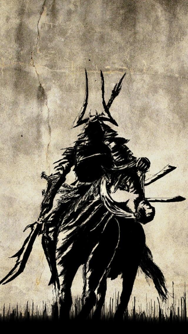 Drawn samurai phone wallpaper / iOS Mobile Mobiles Windows