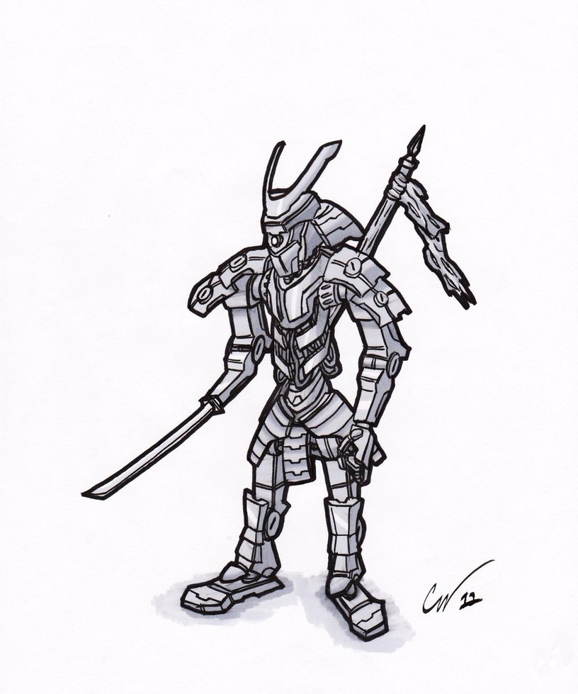 Drawn samurai robot samurai Argentix Robot on Argentix Robot