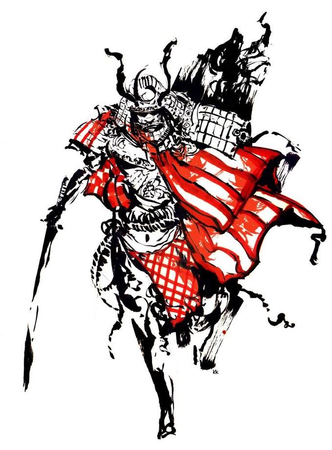 Drawn samurai samurai art 1 1 INPRNT print Red