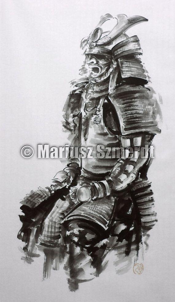 Drawn samurai samurai art Japan Decor painting Artwork Wall