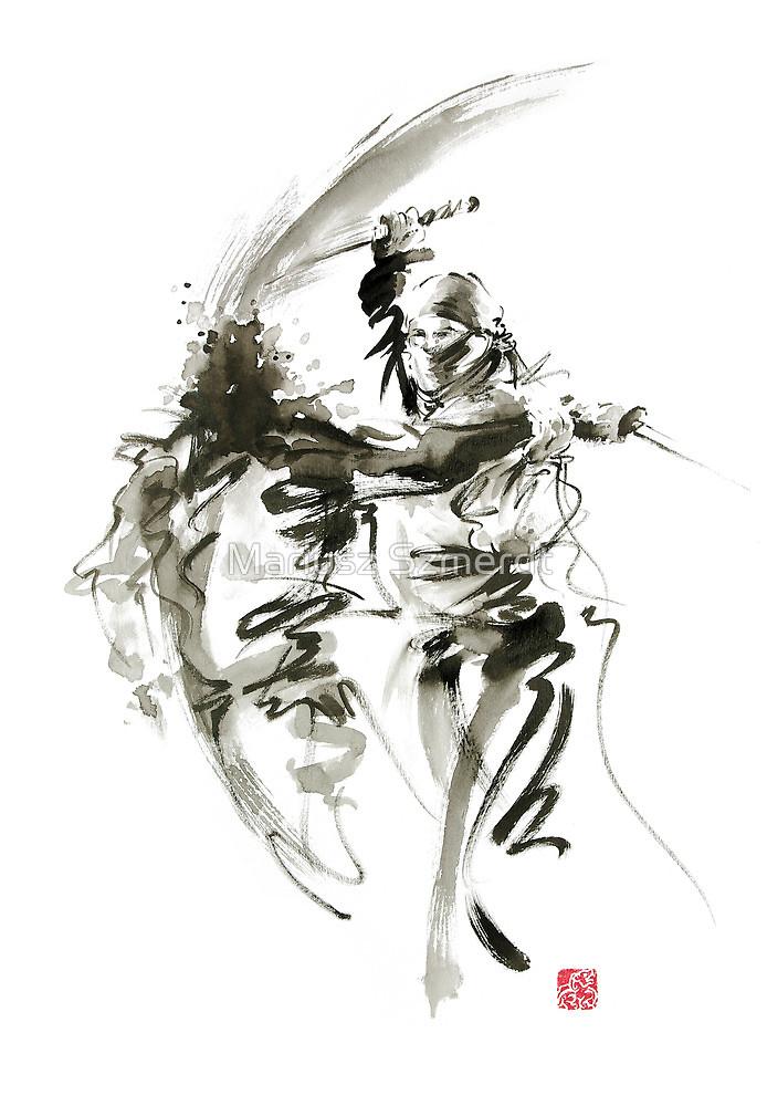 Drawn samurai shadow Original ink sword martial knife