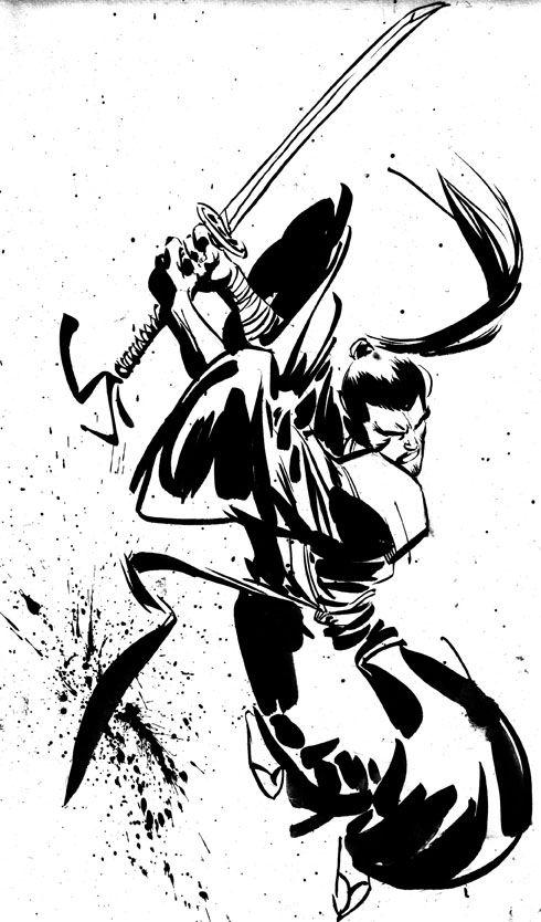 Drawn samurai sketch With sword Samurai on Arts