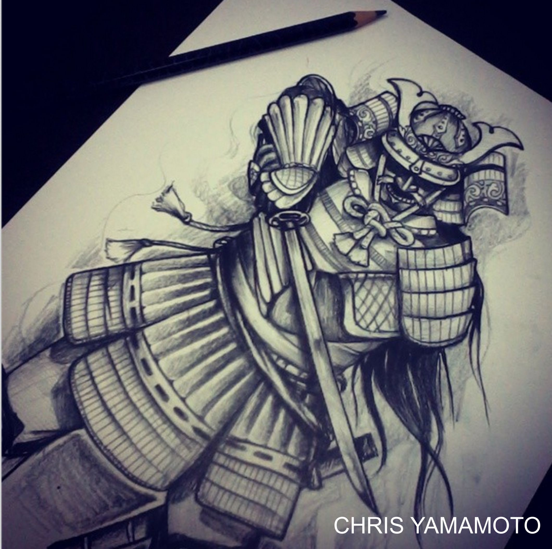 Drawn samurai sketch Tattoo by samurai Yamamoto by
