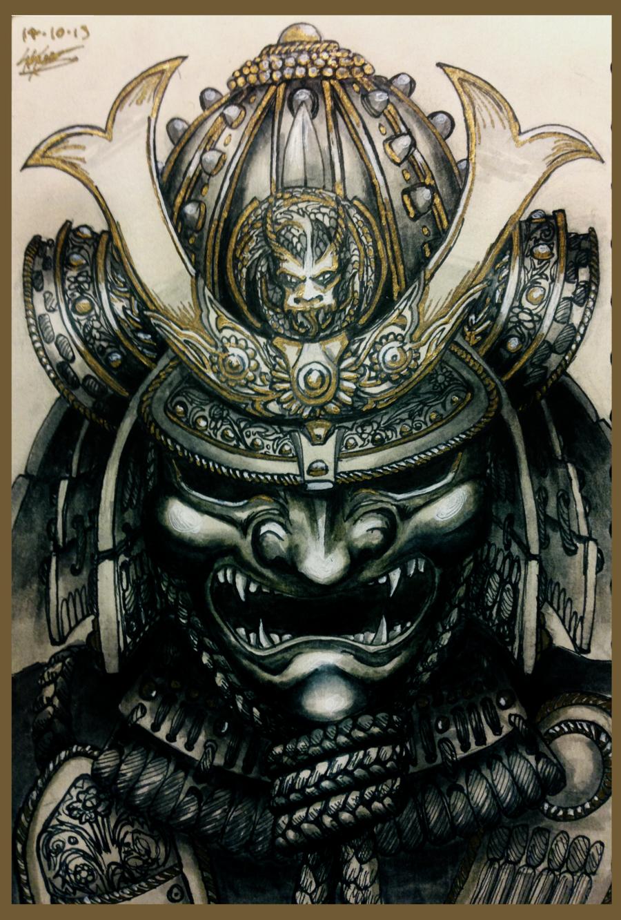 Drawn samurai skull On deviantART Kabuto com Japanese