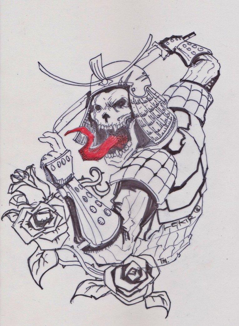 Drawn samurai skull DeviantArt Anime samurai skull by