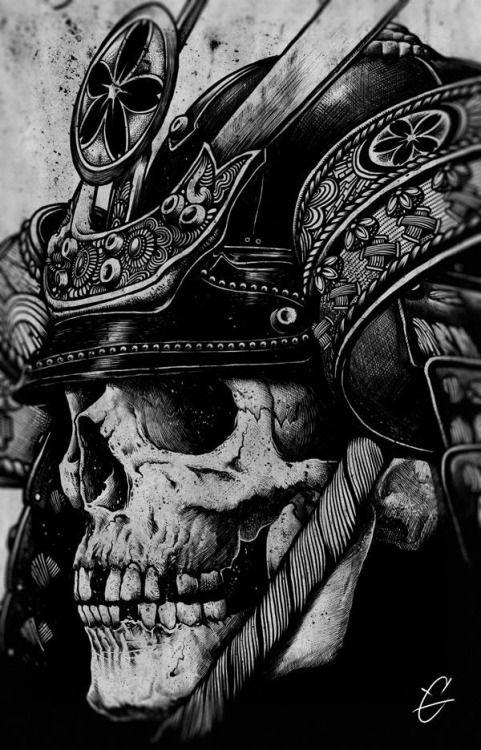 Drawn samurai skull Samurai samurai skull Pinterest 25+