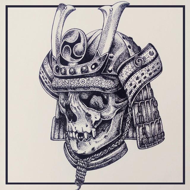 Drawn samurai skull #sketch Skull Samurai sketch tattoo