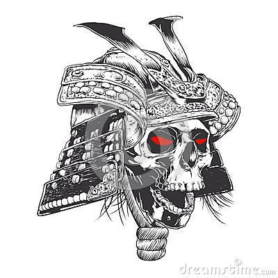 Drawn samurai skull Illustration illustration black white samurai