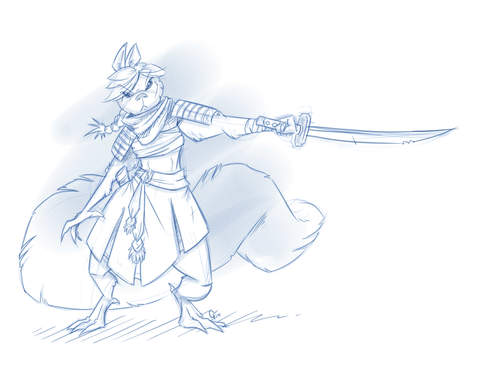 Drawn samurai squirrel A modern was while and