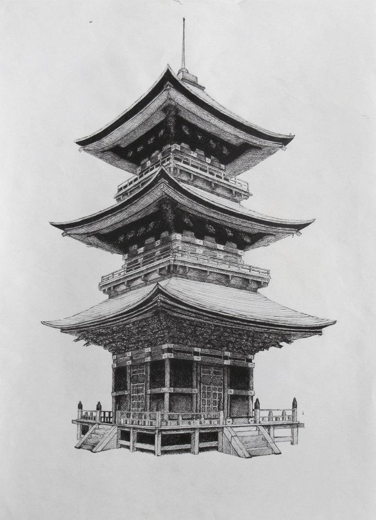 Drawn samurai temple Pinteres… Temple templo Japones …