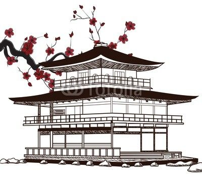 Drawn samurai temple Images best Japan Kimonos pagoda