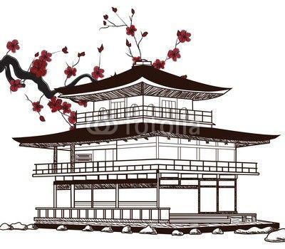 Drawn samurai temple Images on japanese  Japan