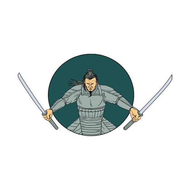 Drawn samurai two sword Two Oval T Drawing Warrior