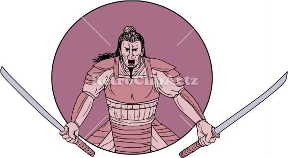 Drawn samurai two sword RetroClipArtz Oval Vector Warrior Raging