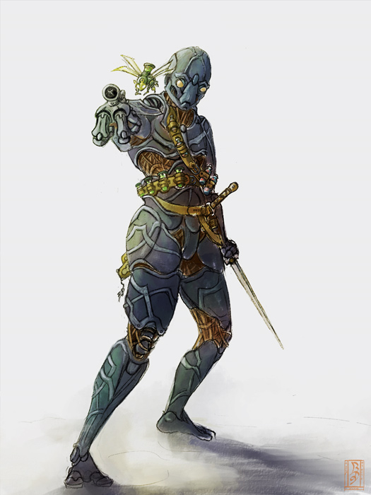 Drawn samurai warforged  are for Looking miniatures