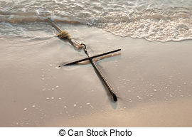 Drawn sand anchor  and beach Stock Images