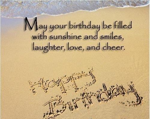 Drawn sand happy birthday Written in summer  in
