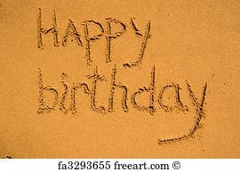 Drawn sand happy birthday FreeArt Sun Sand The Wall