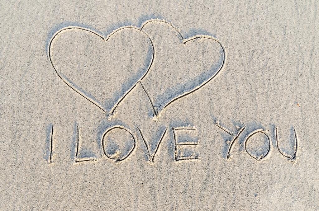Drawn sand i love you You — heart © drawn