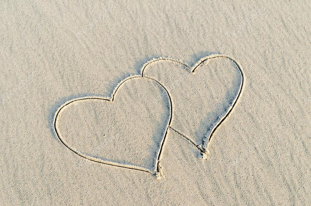 Drawn sand i love you You I heart drawn on