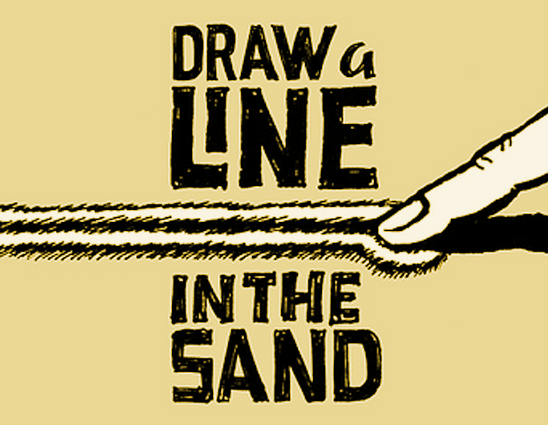 Drawn sand line in Sand in Me Neither: Christians