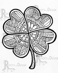 Drawn sand shamrock INSTANT Holidays to Print doodle