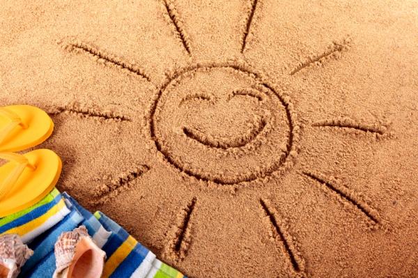 Drawn sand sun Welcom Beach sun The in