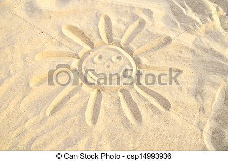 Drawn sand sun Drawn Stock symbol sand in