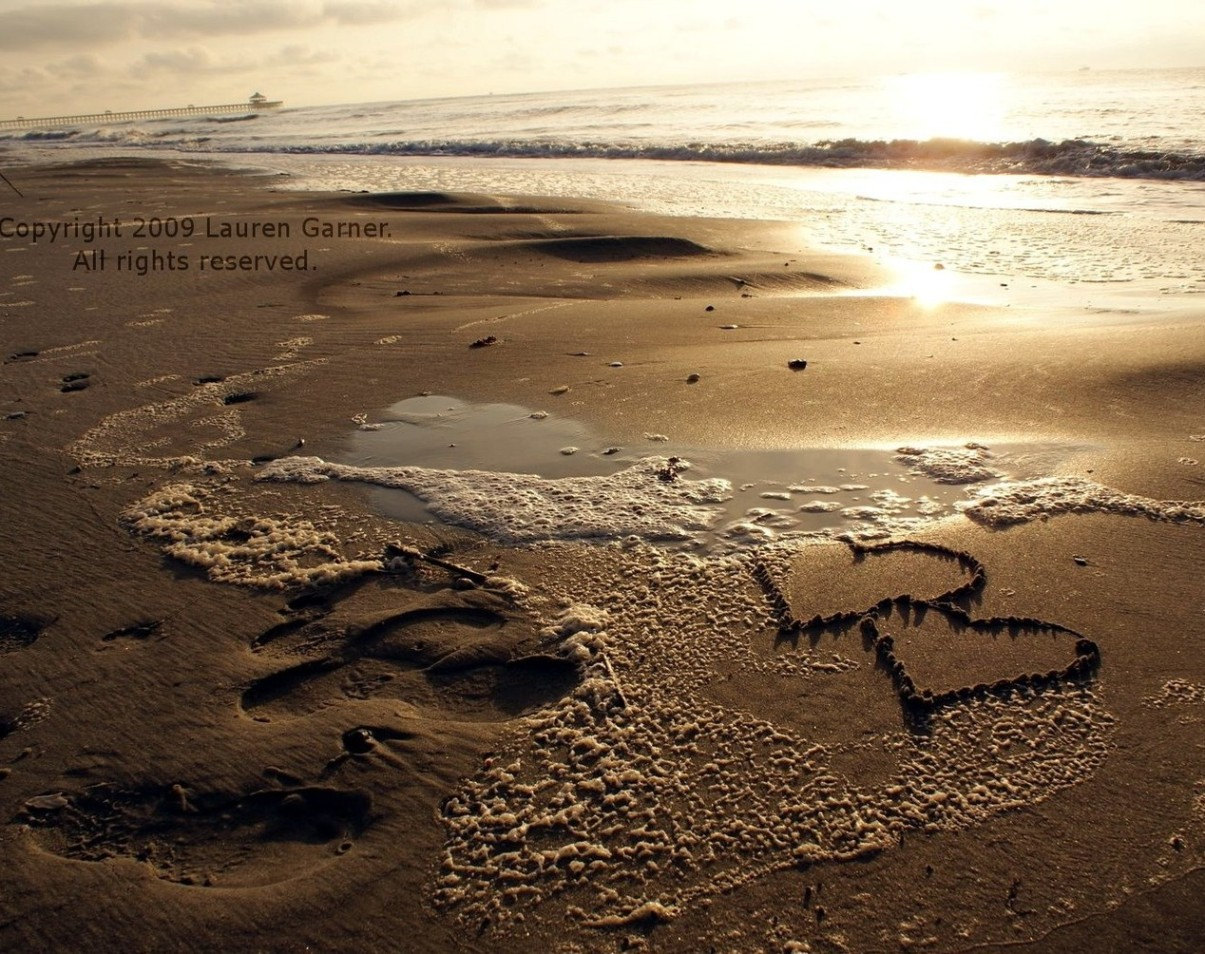 Drawn sand two heart Sand Two in Photography the