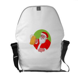 Drawn santa beer drinking & Messenger Handbags Drinking Drawing