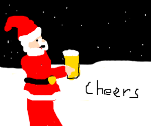 Drawn santa beer drinking Claus drinking Santa by beer