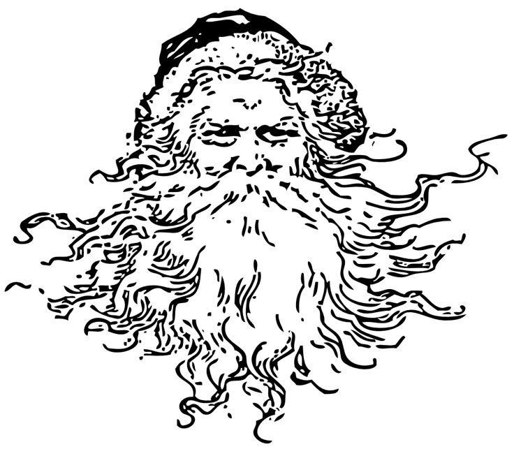 Drawn santa black and white On art Clip white and
