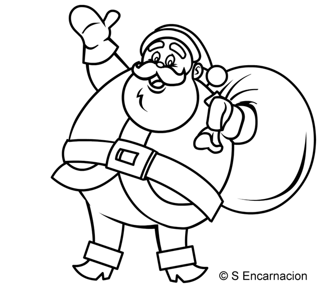 Drawn santa caricature To Santa Pictures Colour Santa