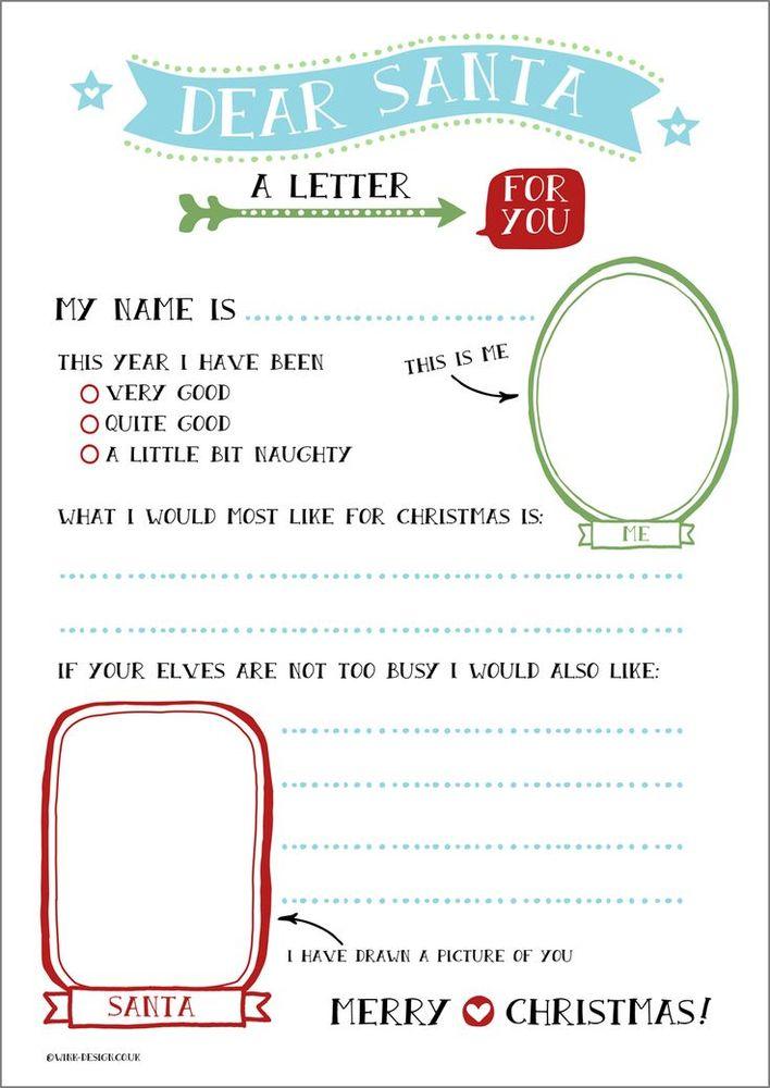 Drawn santa child printable Printable Free Templates: Letter Pinterest