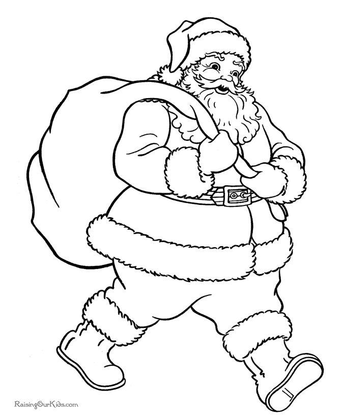 Drawn santa christmas coloring page Santa! ideas Christmas Pinterest 20+