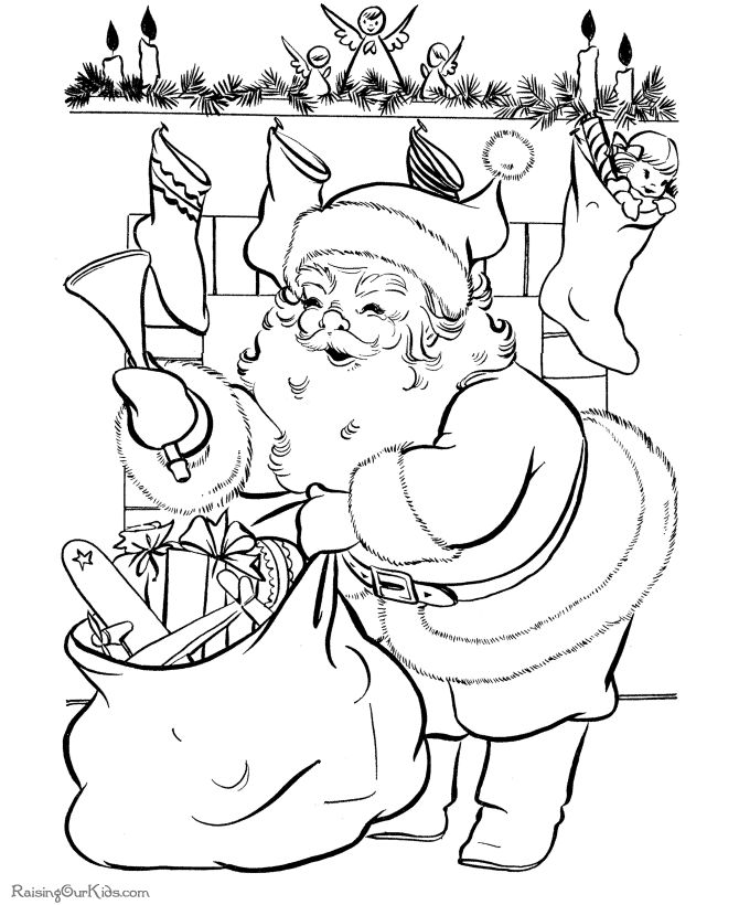 Drawn santa coloring book Coloring Christmas only ideas 25+