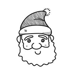 Drawn santa doodle Face photos a santa vector