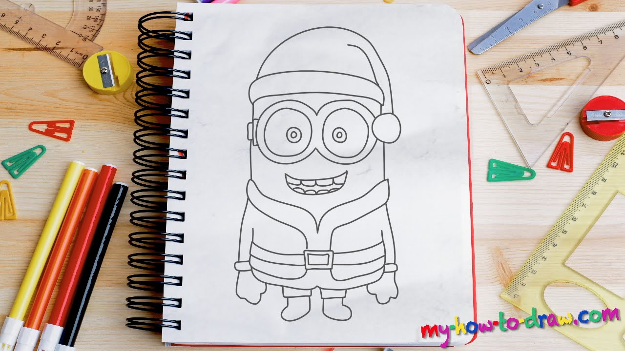 Drawn santa fun christmas Minion by step step step