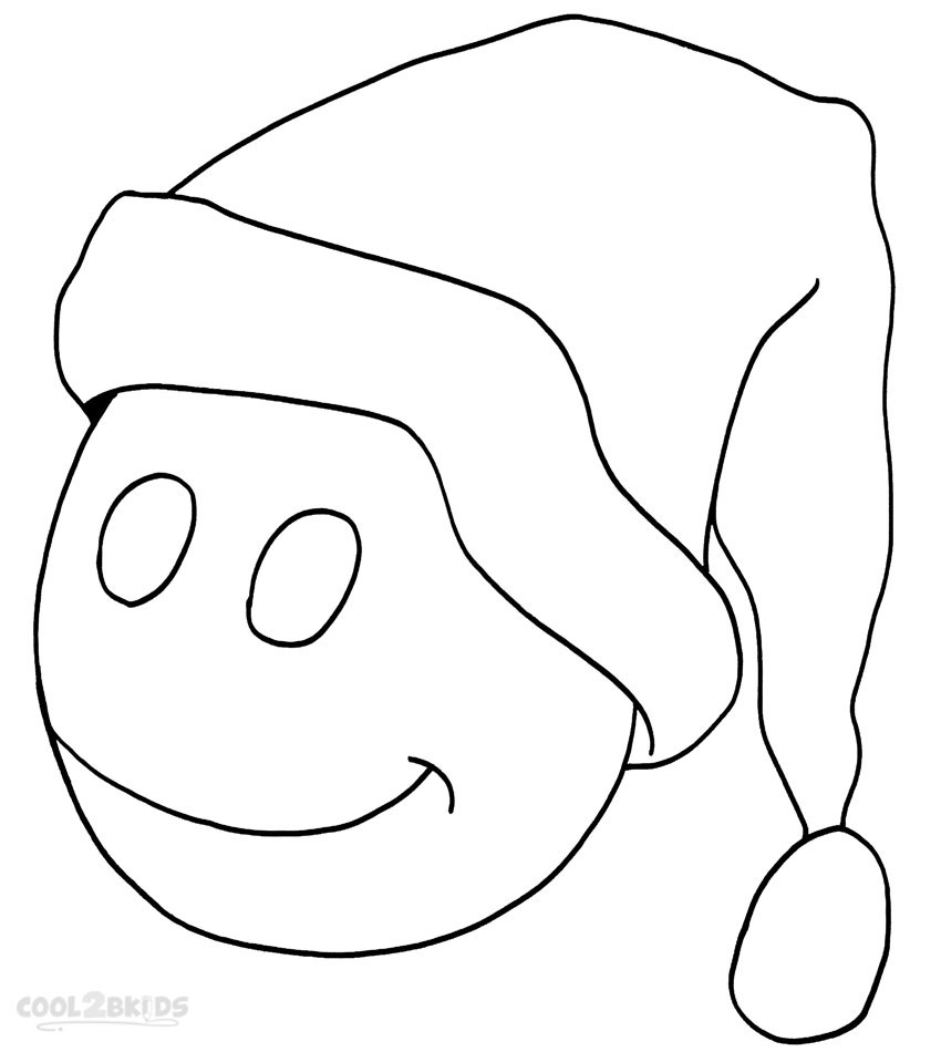 Drawn santa hat new year Kids Coloring Hat Pages Sheet