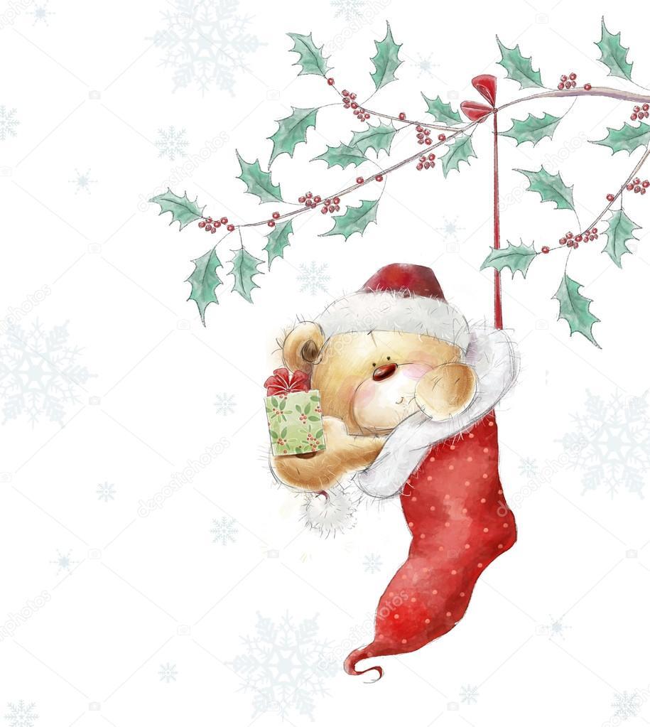 Drawn santa hat cute The Santa and teddy hat